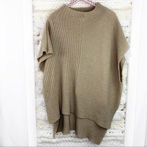 Free People Tan Oversized Poncho Sweater Wool